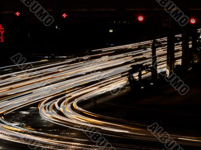 abstract view of lights at road