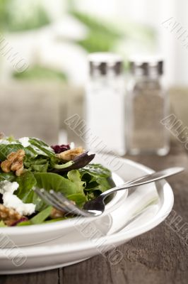 plate of vegetable salad with fork