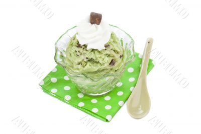 mint chocolate chip ice cream with whip cream