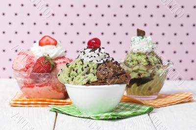 three flavors of ice cream on the bowl