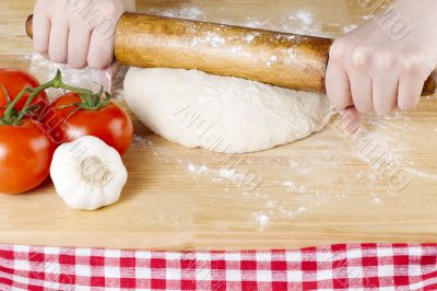 rolling pin knead on dough