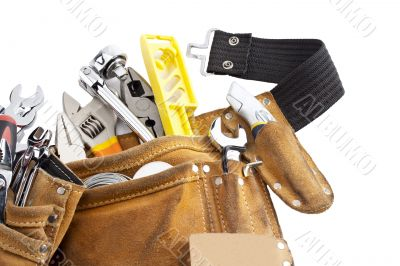 tool belt with work tools on white background