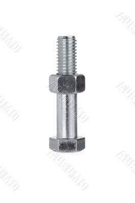 nut on bolt on white surface