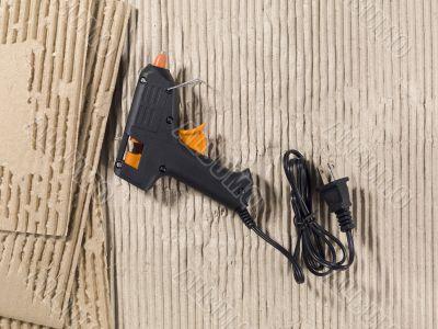 glue gun and cardboard