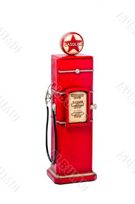red fuel pump over white background