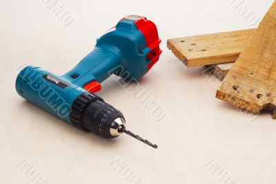 power drill with wood