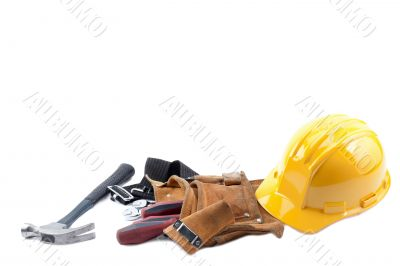 hardhat hammer tool belt and screw driver