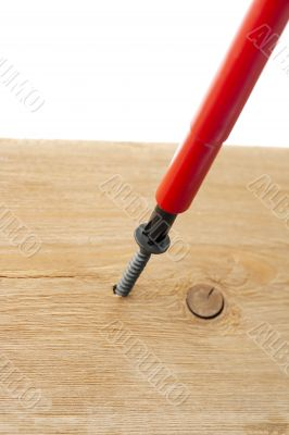 screwdriver on woodscrew