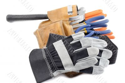 construction tool belt ad gloves