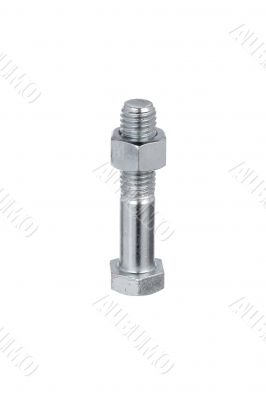 bolt with nut on white surface