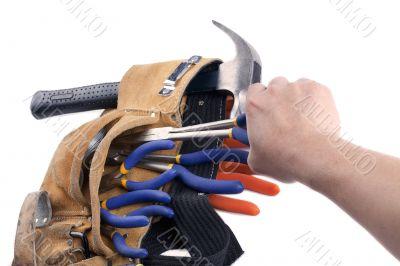 carpentry tools on belt