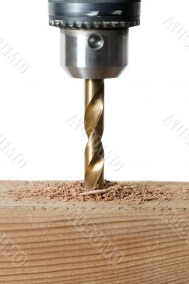 cropped image of drilling a wood