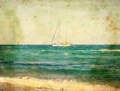 Yacht at sea. Old postcard