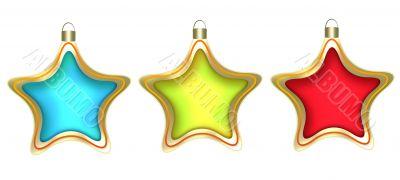 Three christmas stars on a white background.