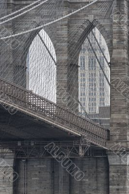 close up cropped image of brooklyn bridge