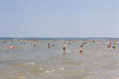 tourist enjoying swimming in sea water