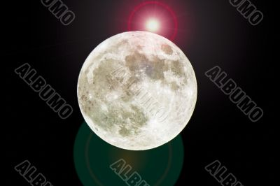 full moon with shining star