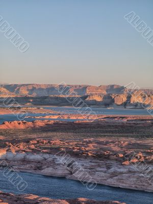river and mountain range with clear sky in background in nevada