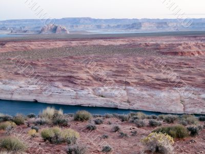high angle view of cliffs and water stream at lake mead