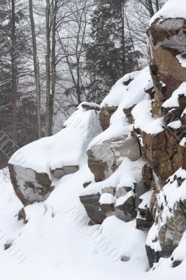 cliff covered with snow