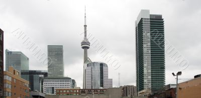 distant shot of office buildings and cn tower
