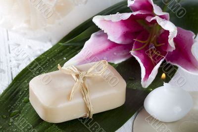 bar of soap and flower