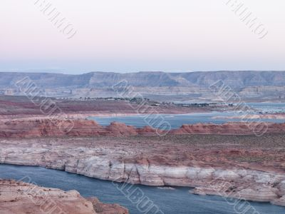 mountain range and river at lake mead