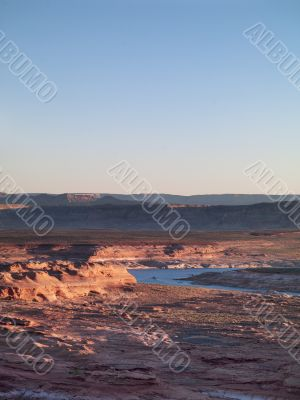 majestic image of mountain range and water stream at lake mead