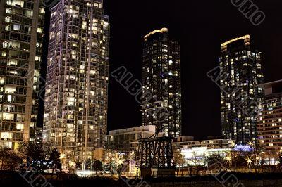 distant view of elegant office buildings