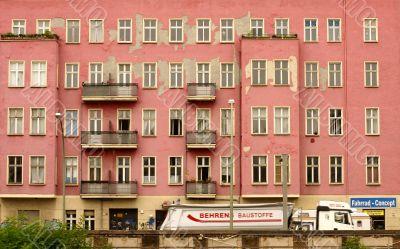 Crumbling house facade