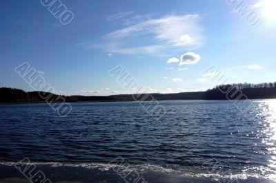Blueness of lake and sky.