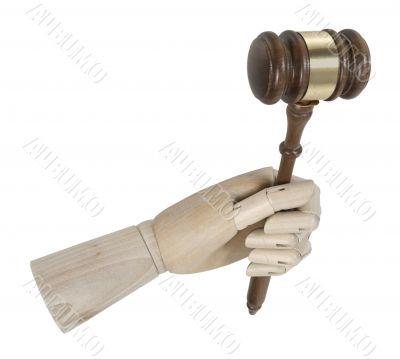 Wooden Hand Holding Gavel