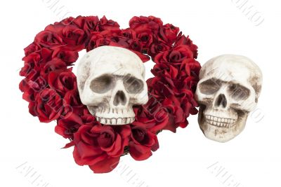 Skulls with Heart of Roses