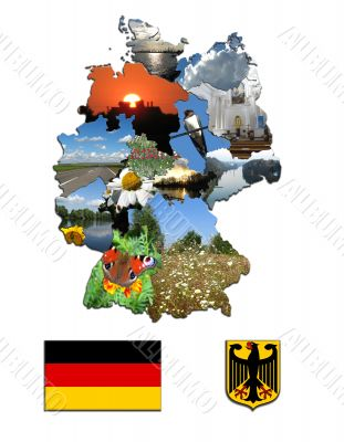 The map of regions and the arms of Germany
