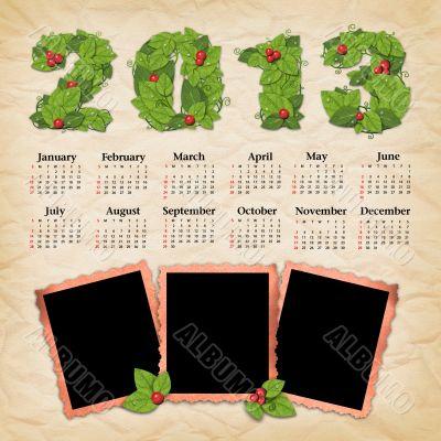 Vintage calendar 2013 with