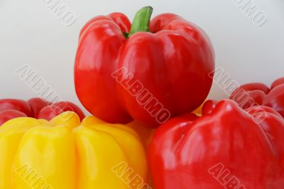 Red and yellow raw pepper