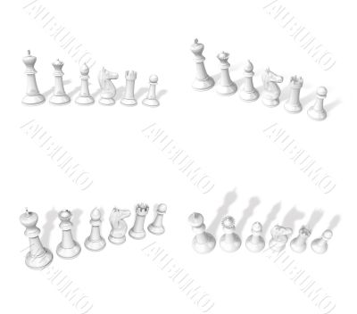 3d white chessmen standing side by side
