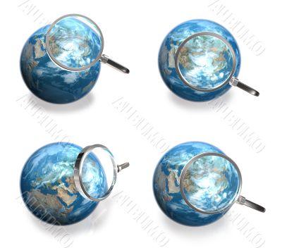 3d blue globe range and magnifier four set
