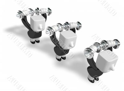 3d men holding their dumbbell together