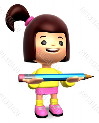 Girl holding a large pencil with both hands. 3D Kids Character D