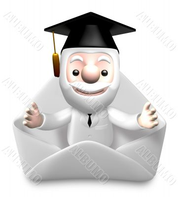 3d science doctor greeting in white envelope
