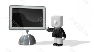 3d business man standing next to big screen