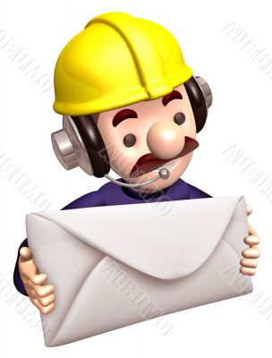 Construction site personnel holding a large letter. 3D Business