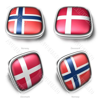 Norway and Denmark 3d metallic square flag button