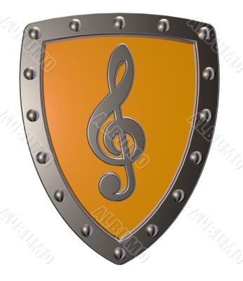 clef on metal shield