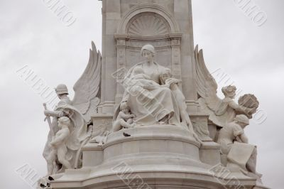 Details in the Victoria Monument on Buckingham Palace roundabout, London, UK