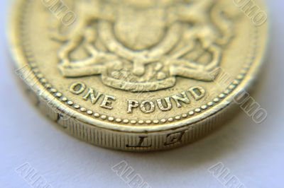 Macro shot of british pound coin