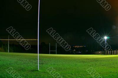 Rugby stadium at night