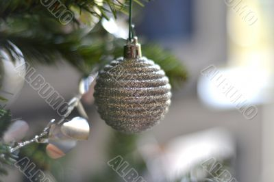 Beautiful christmas decorations hanging on christmas tree