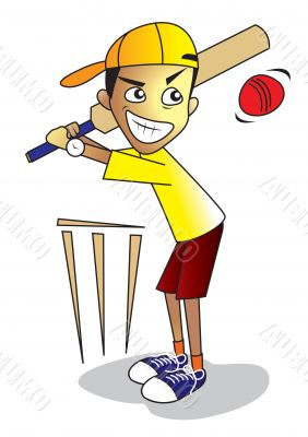 kid playing cricket